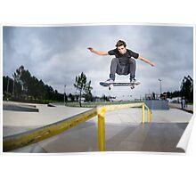 Skateboarder doing a ollie Poster