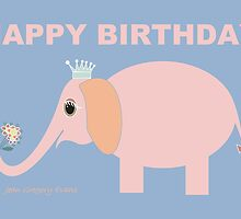 HAPPY BIRTHDAY by ELEPHANT by Jean Gregory  Evans