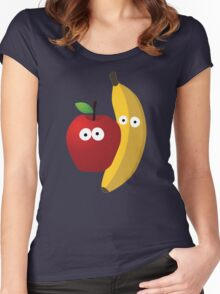 Cartoon Apple banana Women's Fitted Scoop T-Shirt