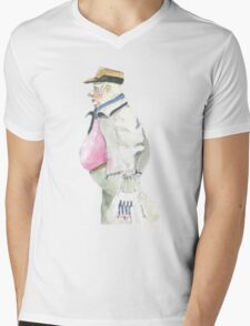 man with sideburns and tesco bag Mens V-Neck T-Shirt