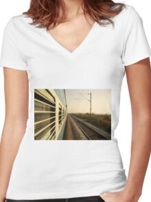 Eastbound  Women's Fitted V-Neck T-Shirt