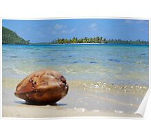 Tropical islet with blurred coconut in foreground Poster