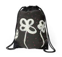 White Flowers Pink Polka Dots Drawstring Bag