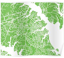 Annapolis Map - Light Green Poster