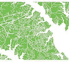 Annapolis Map - Light Green Photographic Print