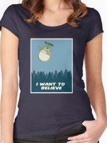 """I Want to Believe"" Totoro  Women's Fitted Scoop T-Shirt"