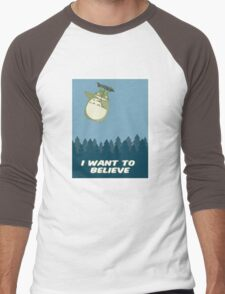 """I Want to Believe"" Totoro  Men's Baseball ¾ T-Shirt"
