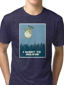 """""""I Want to Believe"""" Totoro  Tri-blend T-Shirt"""