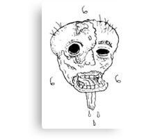 Melted Face 666 BW Canvas Print