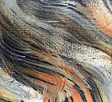 Whimsical Swirls Orange White Blue by mommybrainarts