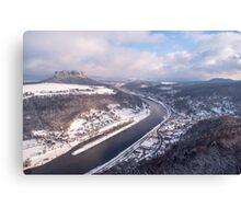 Elbe Valley with Mountain Pfaffenstein Canvas Print