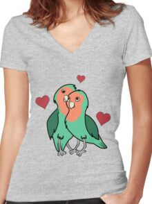 Valentine's Day Peach Faced Love Birds with Red Hearts Women's Fitted V-Neck T-Shirt