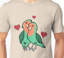 Valentine's Day Peach Faced Love Birds with Red Hearts Unisex T-Shirt