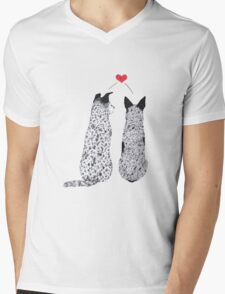 "Australian Cattle Dog, Blue Heeler, ""Puppy Love"" Mens V-Neck T-Shirt"