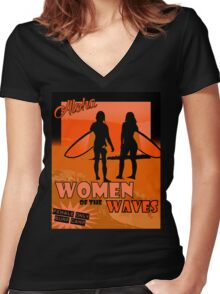 Women of The Waves Surf Camp Women's Fitted V-Neck T-Shirt
