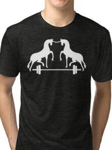 Unicorns Frolicking Over A Barbell Tri-blend T-Shirt