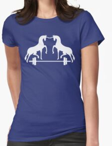 Unicorns Frolicking Over A Barbell Womens Fitted T-Shirt