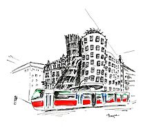 Urban sketch of Prague Photographic Print