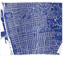 Berkeley Map - French Blue Poster