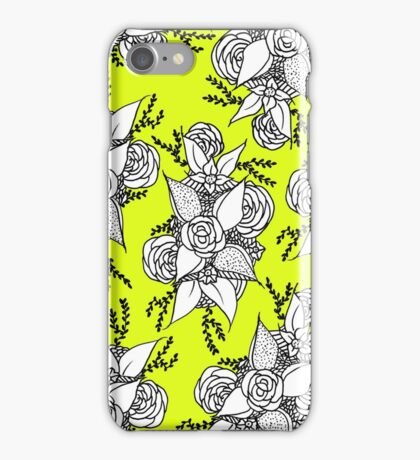 Bold colorful black and white roses boho lime yellow iPhone Case/Skin
