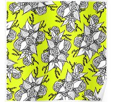 Bold colorful black and white roses boho lime yellow Poster