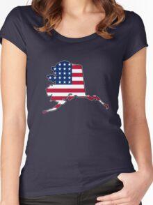 American flag Alaska outline Women's Fitted Scoop T-Shirt