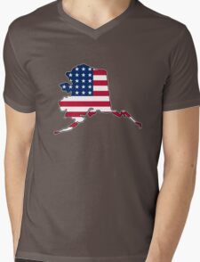 American flag Alaska outline Mens V-Neck T-Shirt