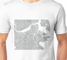 Boston Map - Light Grey Unisex T-Shirt