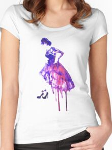Watercolour fashion Women's Fitted Scoop T-Shirt