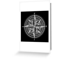 White Compass Greeting Card