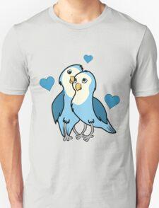 Valentine's Day Blue Love Birds with Hearts Unisex T-Shirt