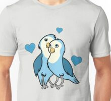 Valentine's Day Blue Love Birds with Hearts Unisex T-Shirt