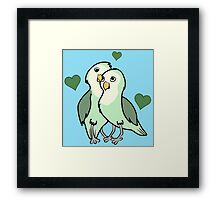 Valentine's Day Green Love Bird with Hearts Framed Print