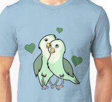Valentine's Day Green Love Bird with Hearts Unisex T-Shirt
