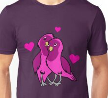 Valentine's Day Hot Pink Love Birds with Hearts Unisex T-Shirt