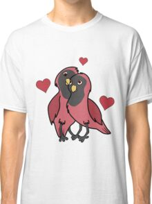 Valentine's Day Red & Black Love Birds with Hearts Classic T-Shirt