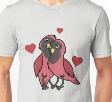 Valentine's Day Red & Black Love Birds with Hearts Unisex T-Shirt