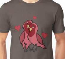 Valentine's Day Red Love Birds with Hearts Unisex T-Shirt