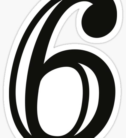 Decorated Number 6 Six Sticker