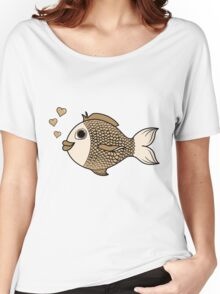 Valentine's Day Antique White Fish with Heart Bubbles Women's Relaxed Fit T-Shirt