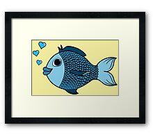 Valentine's Day Blue Fish with Heart Bubbles Framed Print