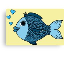 Valentine's Day Blue Fish with Heart Bubbles Canvas Print