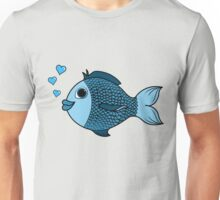 Valentine's Day Blue Fish with Heart Bubbles Unisex T-Shirt