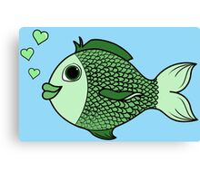 Valentine's Day Green Fish with Heart Bubbles Canvas Print