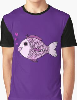 Valentine's Day Pink Fish with Heart Bubbles Graphic T-Shirt