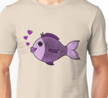 Valentine's Day Purple Fish with Bubble Hearts Unisex T-Shirt
