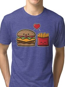 Burger and Fries Tri-blend T-Shirt