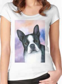 Dog 128 Boston Terrier Women's Fitted Scoop T-Shirt
