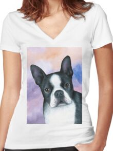 Dog 128 Boston Terrier Women's Fitted V-Neck T-Shirt