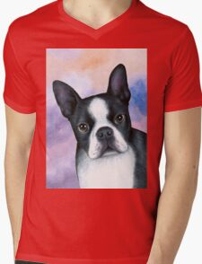Dog 128 Boston Terrier Mens V-Neck T-Shirt